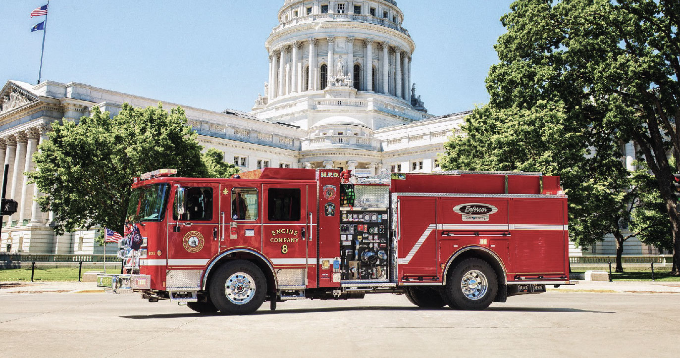 Red Pierce Volterra™ Pumper outside the capital in Madison, Wisconsin
